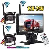 2x Wireless 18LEDs IR Nacht Vision Wasserdicht Backup Kamera + 2.4G Wireless 17,8cm Farbe TFT LCD Monitor für Wohnmobil-Bus Truck Trailer 12V-24V