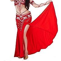 Falda Calcifer de algodón con bordados, de alta calidad y elegante para bailarinas profesionales de danza del vientre o como disfraz., rojo
