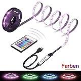 LED Strip, LED TV Hintergrundbeleuchtung, 1M USB LED Beleuchtung, RGB Streifen, TV, Fernseher, PC, Desktop, Tische LED Stripe, Lichterkette Lichtleiste Bänder Farbband Lichtmodi Farbwechsel Effekte