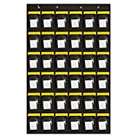 Geekbuzz Hanging Pocket Chart Organiser for Classroom Numbered Cellphone Closet Wall Holder Rack Over the Door Storage (36 Pockets with Cards)