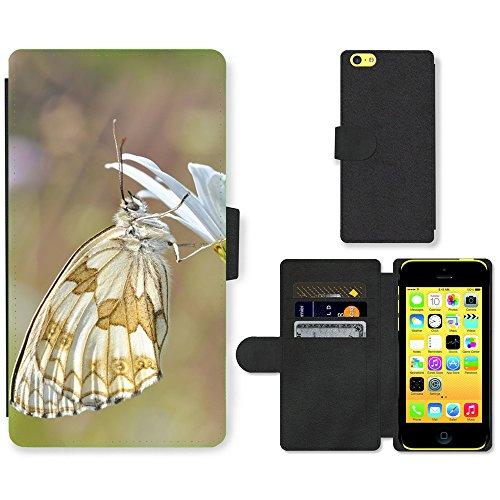 Just Mobile pour Hot Style Téléphone portable étui portefeuille en cuir PU avec fente pour carte//m00138131Nature insectes papillon Macro//Apple iPhone 5C