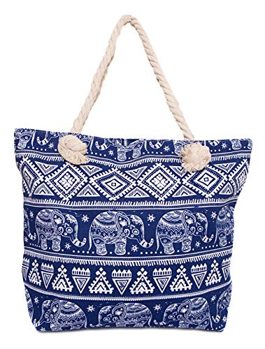 CAPRIUM Strandtasche mit Ethno und Elefanten Muster und Reißverschluss Schultertasche Shopper Damen 287613 (Blau)