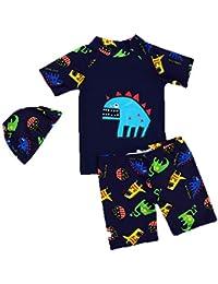 Niños Traje de baño Buceo Surf Manga Corta Camiseta + Swim Shorts + Gorra de Ducha Protección Solar Set