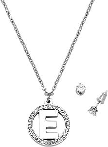 longueur r/églable O Beloved ❤️ Parure avec collier et boucles doreilles en acier inoxydable et cristal avec lettre initiale point de lumi/ère