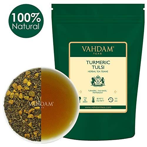 VAHDAM, Kurkuma Tulsi Kräutertee Loose Leaf (100 Tassen), 200g | Indiens Wundergewürz | Kurkuma-Tee & Tulsi | 100% natürlicher Tisane Tee | Brauen Sie als heißer oder Eistee