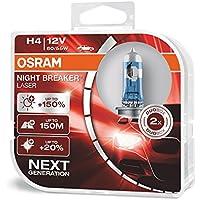 OSRAM NIGHT BREAKER LASER H4 next Generation, +150% mehr Helligkeit, Halogen-Scheinwerferlampe, 64193NL-HCB, 12V PKW, Duo Box (2 Lampen)