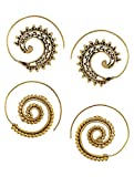 Classic Spiral Gold Tone Brass Earrings ...