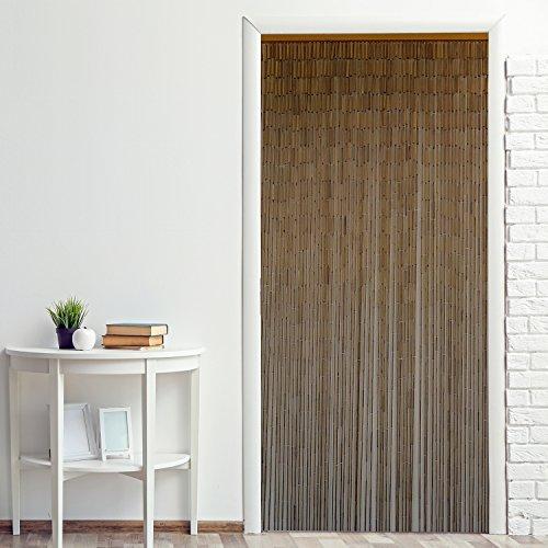 Power-Preise24 Bambus Türvorhang Uni 90 x 200 cm eleganter Raumteiler mit 65 Strängen aus Bambus Bambusvorhang zum Aufhängen, Motiv:Natur
