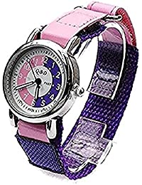 Girls/Kids Learn to tell the Time Teaching Watch Purple/Pink Dial and Pink Strap