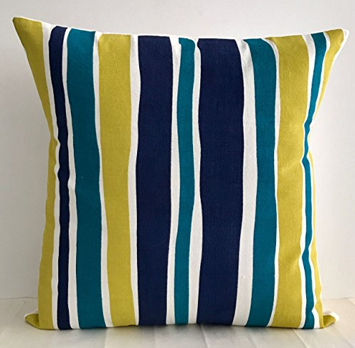100%COTTON CUSHION COVER WITH STRIPES IN BLUE COLOUR