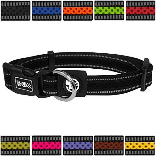 DDOXX Hundehalsband reflektierend Air Mesh | für große & Kleine Hunde | Katzenhalsband | Halsband | Halsbänder | Hundehalsbänder | Hund Katze Katzen Welpe Welpen | klein breit bunt | Schwarz, XL