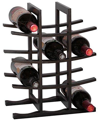 Rta pagode 12bottle countertop porta vino sistema modulare portabottiglie in bambù nero