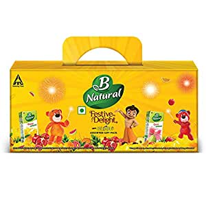 B Natural Juice Festive Delight Assorted Kids Pack with Jelimals, (6X180ml)