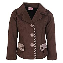 Cutecumber Girls Suede Embellished Brown Coat. 2295A-BROWN-28