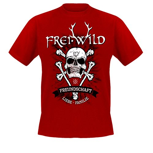 "Frei.Wild - ""15 Jahre / Bone-Skull, T-Shirt"" Farbe: Rot Rot"