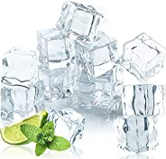50 Pcs 20MM Reusable Plastic Ice Cubes,Clear Acrylic Fake Ice Cubes,Artificial Square Crystal Fake Ice Cubes f