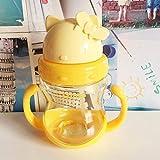PengMu Tazza di plastica di Paglia Testa di Gatto Bambino Bottiglia d'Acqua Doppio Manico apprendimento Bere Tazza di plastica per Bambini Giallo Bambino