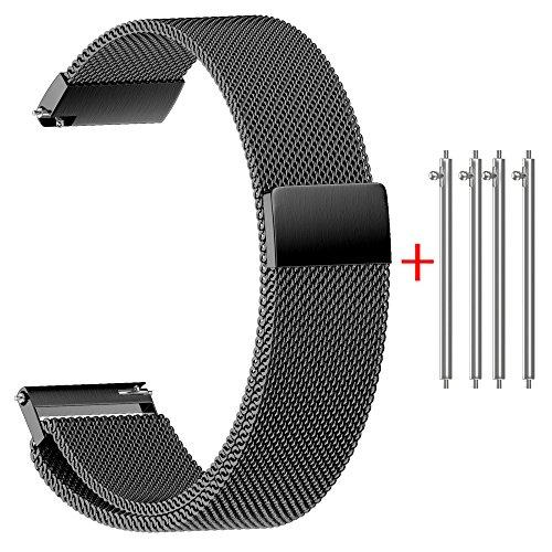 Rameng Uhrenarmband, 22/20/18/16/14°mm, Magnetverschluss mit Schnalle, Milanaise, Edelstahl, für Smartwatch und klassische Armbanduhren, schwarz, 22mm