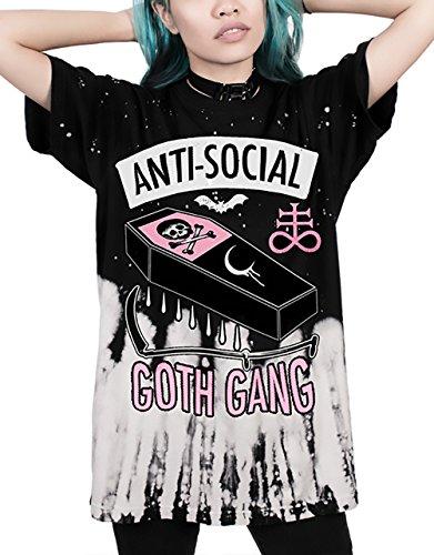 T Shirt Damen Sommer 3D Digital Druck Gothic Punk Schädel Bluse Elegante Stretch Kurzarm Oberteile Oversize Halloween Festlich Mädchen Mode Tops Locker (Tumblr Für Halloween Kostüme)