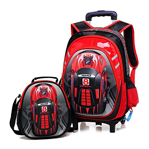 XWWS Car Wheeled Backpack - 2 in 1 Trolley Schultasche, 6-Rad Kinder Trolley Book Bag Abnehmbare, Geburtstag, Rot,A