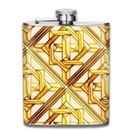 Marmor-Quilt Gold Diagonale Edelstahl Flasche auslaufsicher 198 ml Flachmann für Alkohol Whiskey Wein Flagon Becher Trinkbecher für Reisen Picknick