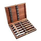 EZARC Ciseaux à bois Professionnels avec boîte de Rangement en bois (Jeu de 6 pièces)