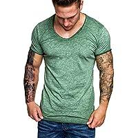 Bluestercool T-shirt pour Hommes, Printemps Été Fashion Slim Manches Courtes T-shirts Casual Couleur Unie Chic Tops Blouses Haute Qualité Tunique Tee Hauts