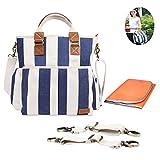 Baby Wickeltasche,Multifunktion Baby Windel Umhängetasche tragbare Einkaufstasche mit Wickelunterlage, Isolierte Tasche,Kinderwagenbefestigungen,blaue und weißeStreifen