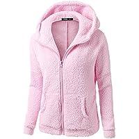Blusa polar Collar mandarín de Mujer, LILICAT Ropa de abrigo Cuello de Cremallera Manga larga Invierno cálido (M, Rosa con Capucha)