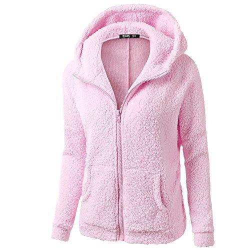 iHENGH Damen Mantel Top,Women Herbst Kapuzenpullover Fell Winter Warme Wolle Jacke ReißVerschluss Baumwollmantel Outwear Strickjacke Coat (EU-42/CN-XXL,Rosa) -