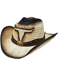 Modestone Jute Sombrero Vaquero Bull Head Leather-Like HatbandBeige