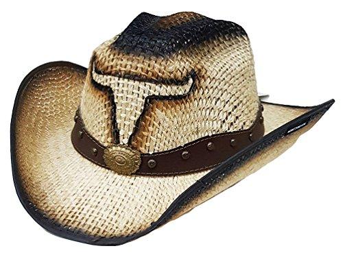 fe7c2465a6c18 Modestone Jute Chapeaux Cowboy Bull Head Leather-Like Hatband Beige