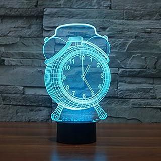 Alisabler 3d Lamp Alarm Clock Night 7 Color Change Best Gift Night Light LED Furnish Desk Table Lighting Home Decoration Toys