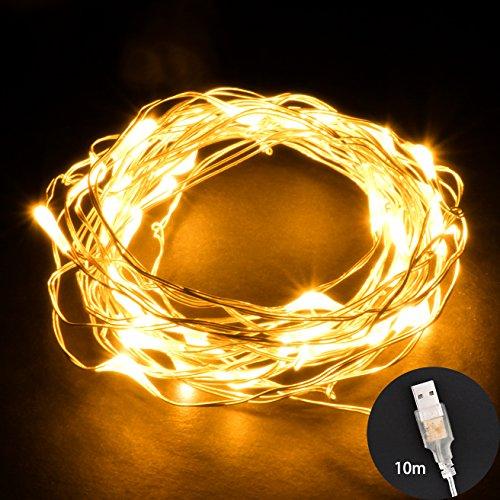 ONEULuci LED String Filo di Argento 10M 100 LED Impermeabile Stringa Fata Luce Decorazioni di Natale Decor per Matrimonio Natale Partito Giardino Interno All'aperto con Porta USB - Bianco