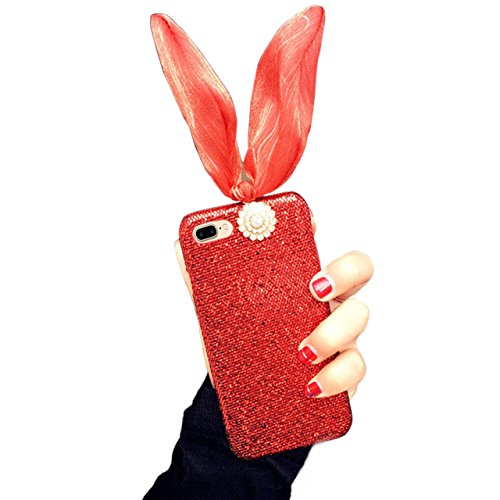 Cover per iPhone 7 Plus Diamante, Custodia per iPhone 7 Plus, Bonice Luxury Glitter Bling 3D DIY Strass Rigida Plastica Hard - Bonice Case Cover Shock-Absorption Bumper,Duro Plastica PC Protettiva,Cri Rabbit -Ear - Cover-02