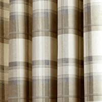 "Fusion - Balmoral Check - Ready Made Lined Eyelet Curtains - 46"" Width x 54"" Drop (117 x 137cm), Nautral from Jrosenthal & Son Limited"