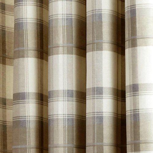 Mason Gray Fusion Balmoral Check 100% Cotton Eyelet Lined Curtains, Natural, 90 x 90 Inch