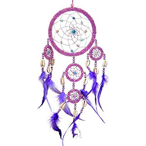 Kheops International - Acchiappasogni rilievo piume viola iridescente rosa (30001) - Rosa Dreamcatcher