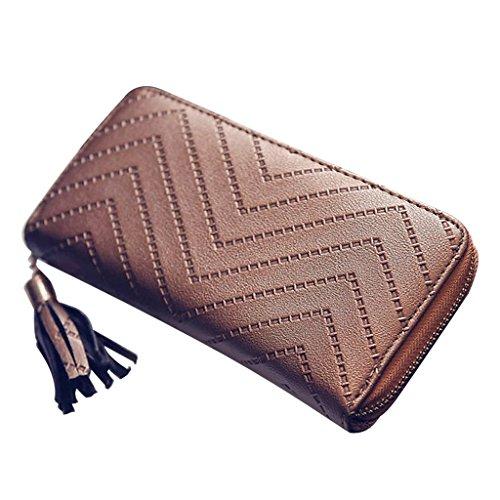 Junlinto Damen Leder Kartenhalter Lange Pfeil Brieftasche Scheckheft Quaste Handtasche Bronze -