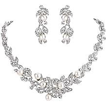 a61bd4f49f1a Clearine Mujer Boda Novia Joyas Cristal Perla simulada Cluster Hoja  Hibiscus Flor Collar Pendientes Set Conjunto