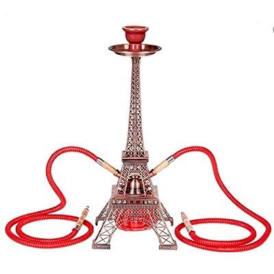 ZNL Wasserpfeife Shisha Hookah mit 2 Schläuchen ca.51cm inkl. Zubehör,Paris-Eiffelturm-Design JYH06 Red von ZNL