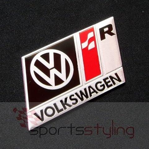 VOLKSWAGEN R LINE BADGE EMBLEM (black) - fits VW GOLF GTI VR6 R32 MK 2 3 4 5 TDI