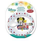 Disney 44078 Elemed Kleinkind 2 Stück Micro Set (Schüssel und Mikro PP Löffel) mit Micky Maus, mehrfarbig
