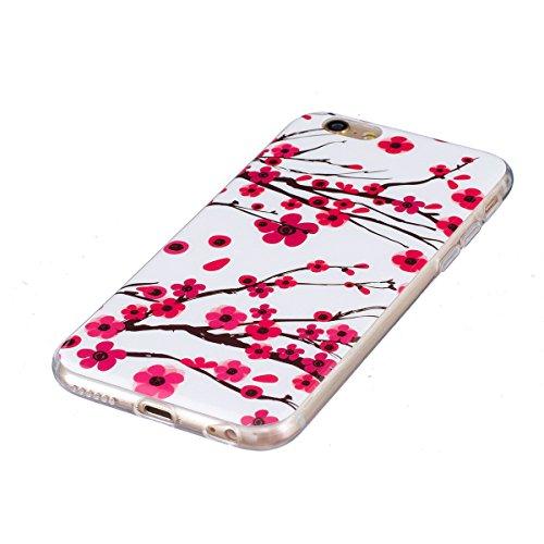 iPhone 6S Plus Hülle, iPhone 6 Plus Hülle, Gift_Source [ Starlight Schmetterling ] Hülle Case Transparent Weiche Silikon Schutzhülle Handyhülle Schutzhülle Durchsichtig TPU Crystal Clear Case Backcove E1-Pfirsich Blume