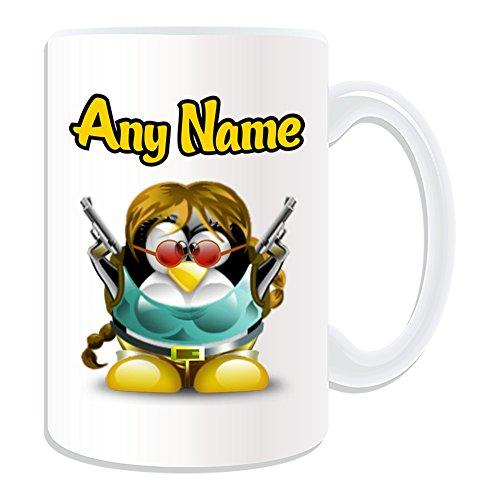 Cute Girl Superhelden Kostüm - Personalisiertes Geschenk, großer Lara Croft Tasse (Pinguin Film Charakter Design Thema, weiß)-Jeder Name/Nachricht auf Ihre Einzigartiges-Kostüm Film Superheld Hero Tomb Raider