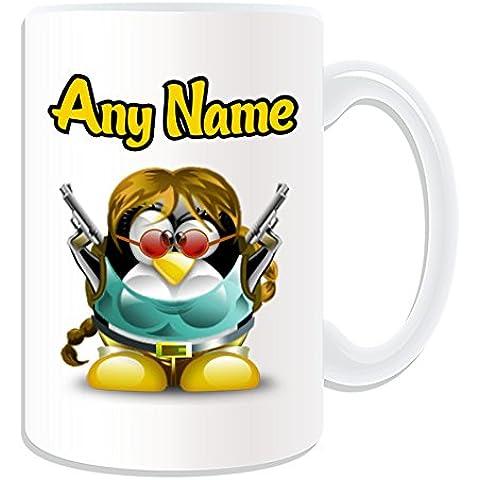 Personalizado Regalo–Taza, diseño de Lara Croft grande (pingüino), diseño de personaje Tema, Blanco)–Cualquier Nombre/Mensaje en tu único–Disfraz Movie Superhero Hero Tomb Raider