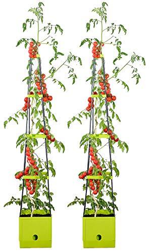 Royal Gardineer Pflanzenaufzuchtturm: 2er-Set Pflanz-Türme mit Rankhilfe für Tomaten, mit 2,5-l-Wassertank (Pflanzenhilfen)