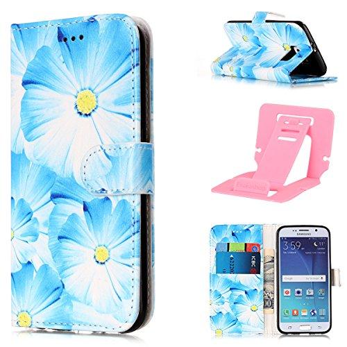 Galaxy S6 Edge Coque Mode,Coque Cuir Etui Pour Samsung Galaxy S6 Edge,Ekakashop Bookstyle Flip Cover Clapet Rabat Shell Couvercle Magnétique Portefeuille Housse Protectrice Wallet Case Etui avec Motif Orchidée