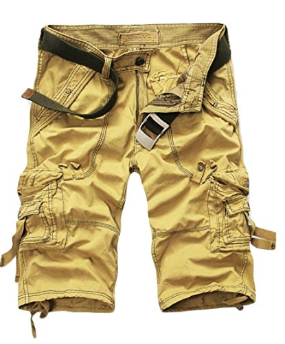 Gocgt Men Leisure Loose Fit Cotton Solid Color Multiple Pockets Cargo Pants Shorts