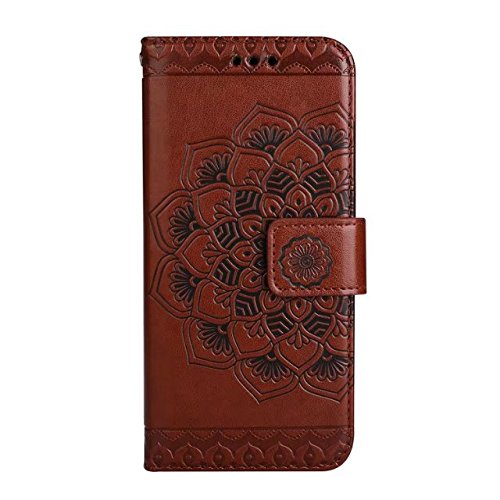 EKINHUI Case Cover Geprägte elegante runde Blumenmuster Faux Leder Tasche Geldbörse Tasche mit Lanyard Strap & Halter & Kickstand & Card Cash Slots für iPhone 6s ( Color : Purple ) Brown